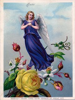 Vintage Easter Images - Pretty Angel with Flowers - The Graphics Fairy