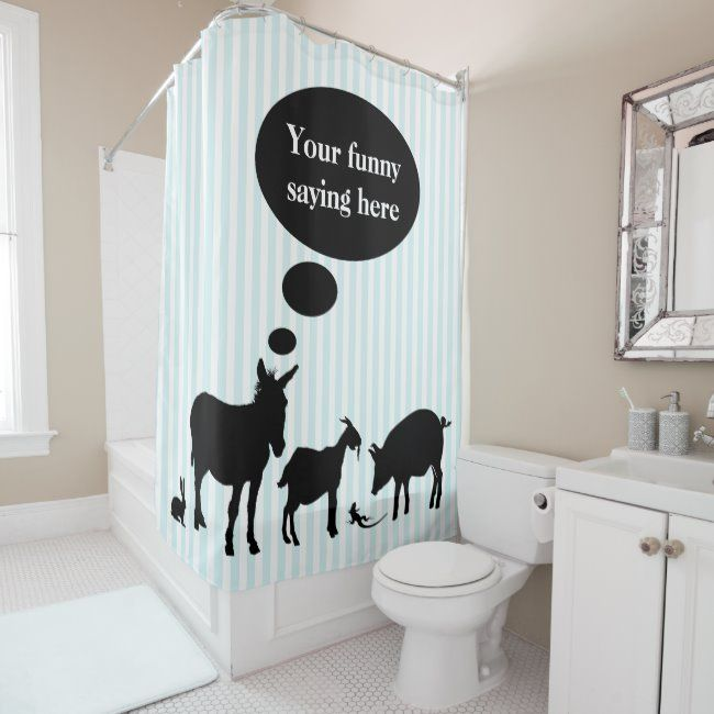 Funny Farm Animals Speech Bubble Shower Curtain Zazzle Com