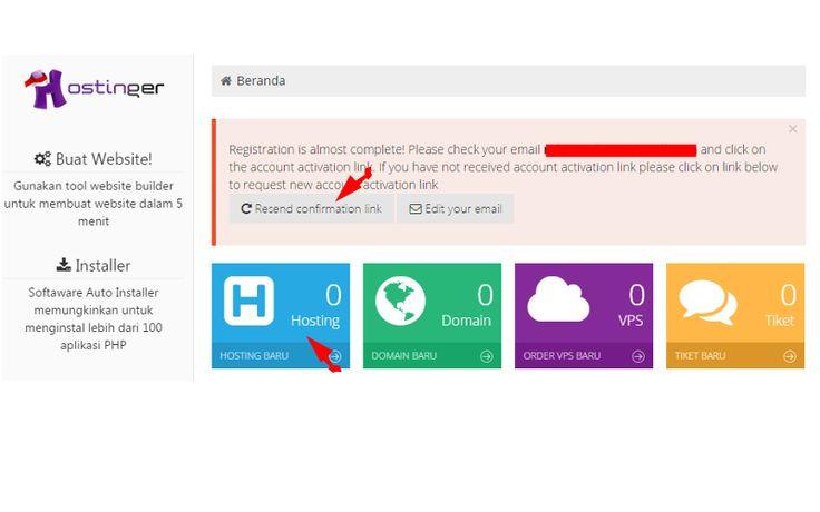 Form halaman konfirmasi email untuk mendaftar pada web hosting