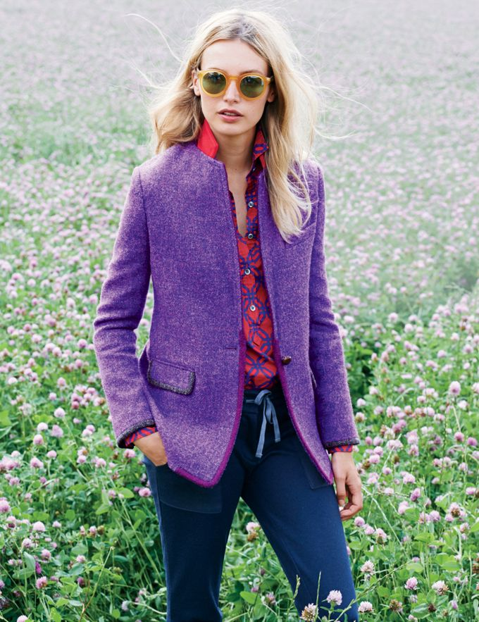 J.Crew Collection Rylan blazer in harris tweed and the popover in ratti geo print.