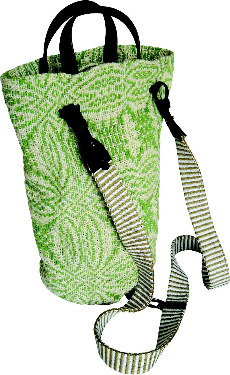 Settebello backpack in handwoven fabric alfiere green. leather handle and details