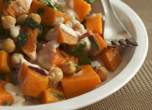 Warm Butternut Salad with Chickpeas and Tahini Dressing- serve with ...