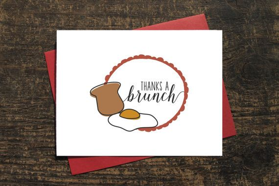 Thanks A Brunch Quote Card Pun Thank You Card by WenonahPaperCo