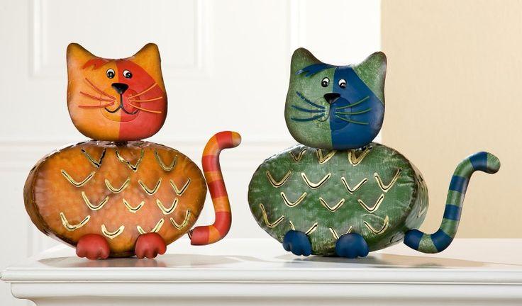 "Laterne ""Katze Athena"", 18 cm, hellrot oder grün, sortiert"