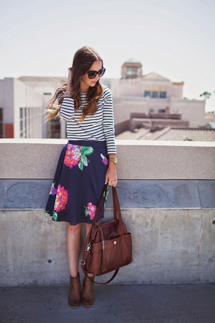 Camisa listrada + saia floral
