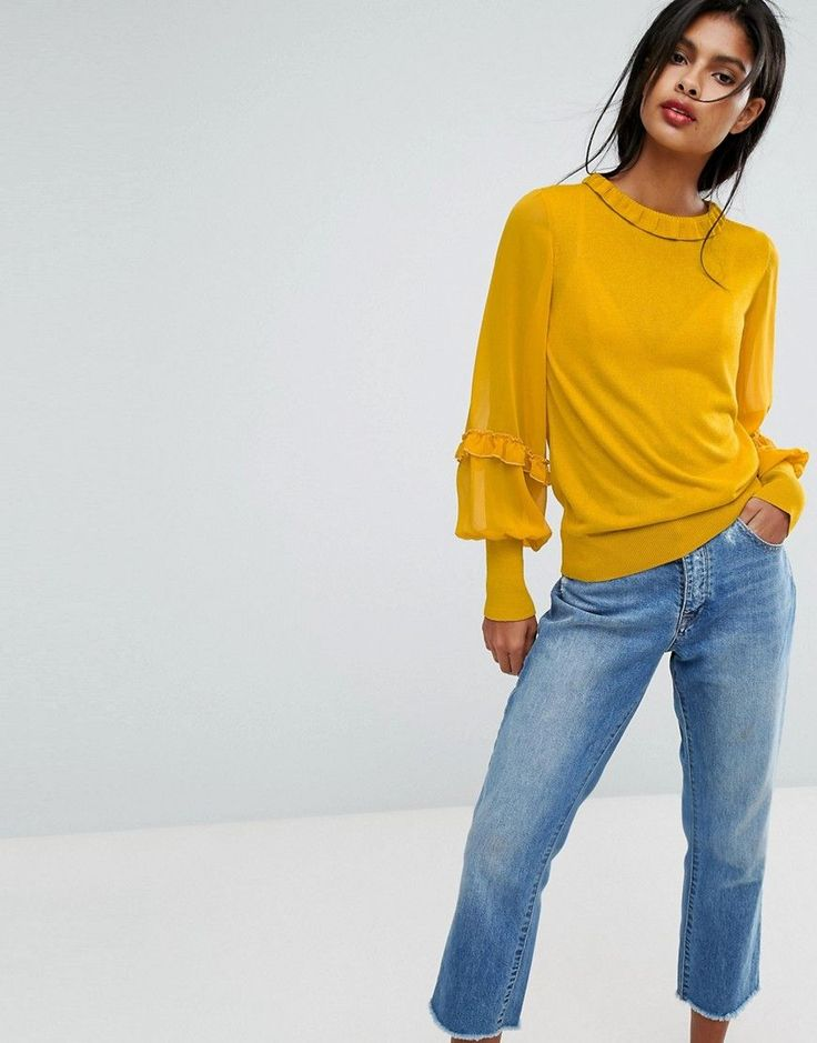 Vila Ruffle Sleeve Sweater - Gold