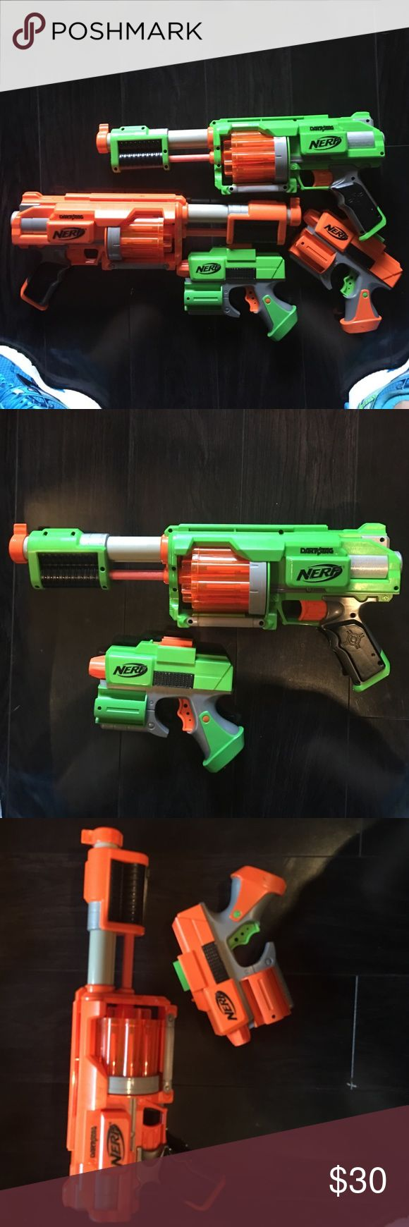 Nerf dart tag guns. Lot of 4 Nerf dart guns. Two large two small. Does not come with foam bullets. Nerf Other