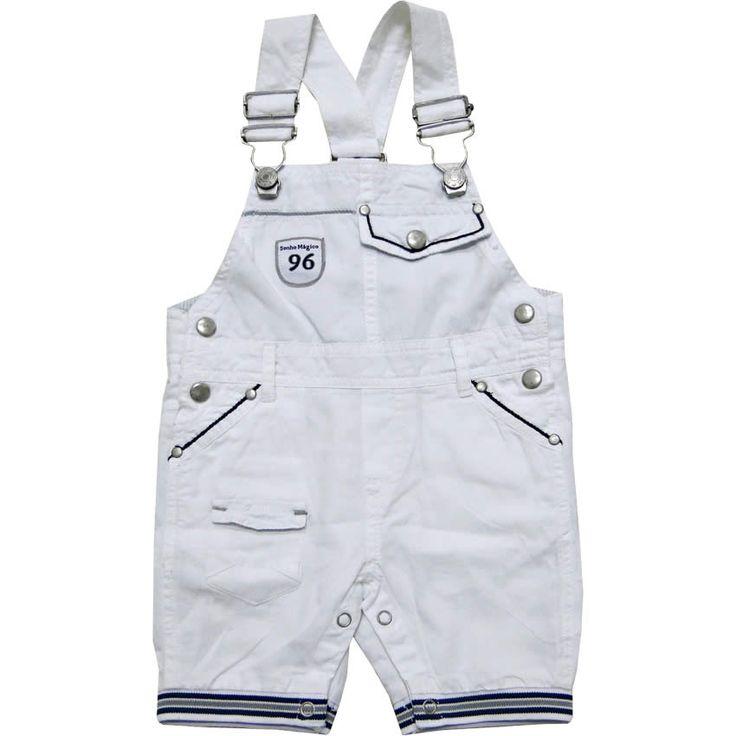Jardineira Bebê Masculina em Sarja Branca - Sonho Mágico :: 764 Kids | Roupa bebê e infantil