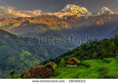 Annapurna South in the morning, Himalayas, Nepal