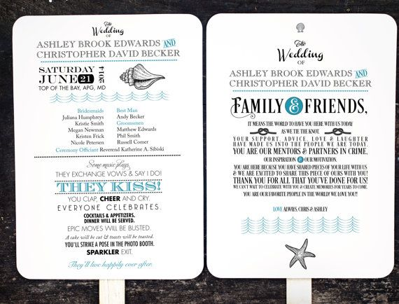 Professionally made and designed wedding program fans. Designed, printed, die cut, may be ordered assembled or unassembled. •••••••••••• { How