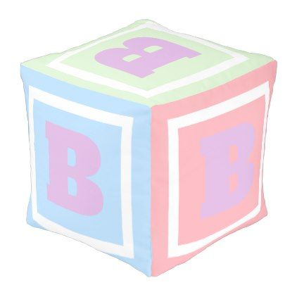 Cute and Fun Pastel Play Cube Theme Monogram Pouf - fun gifts funny diy customize personal