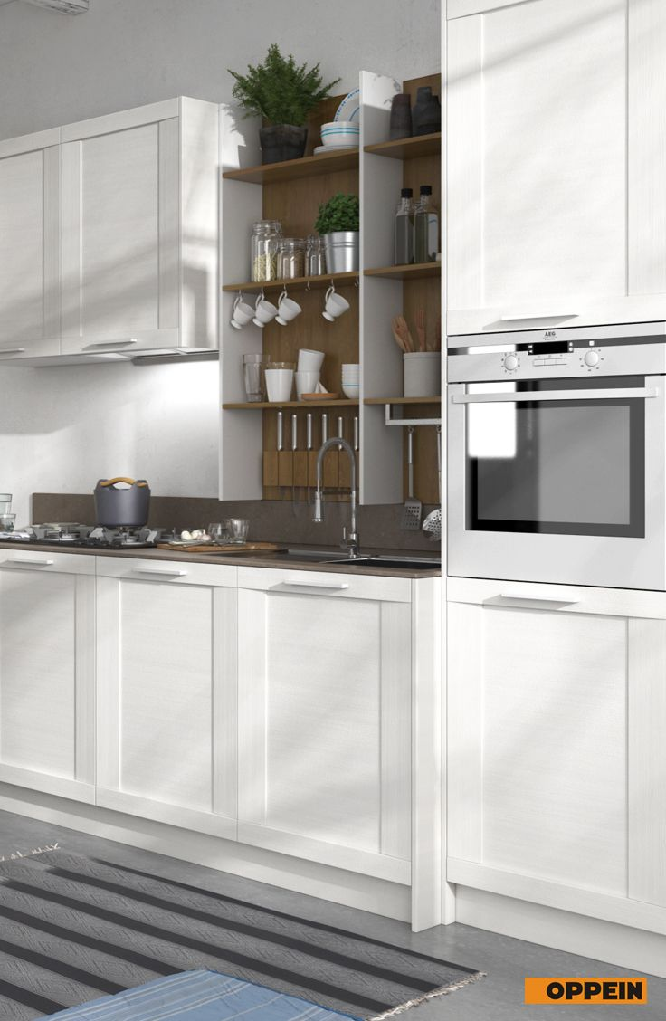 360cm Width Standard Kitchen Cabinet with White Thermofoil ...
