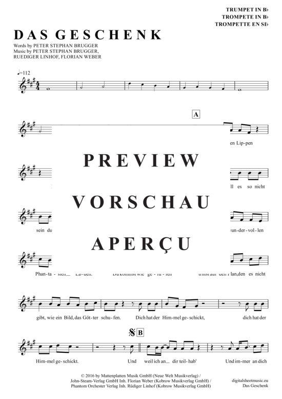 Das Geschenk (Trompete in B) Sportfreunde Stiller [PDF Noten]