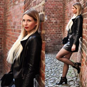 Mini - spódnica IvyRevel, kolor Czarny. Botki - wysoki obcas (no brand), kolor Czarny. Ramoneska (no brand), kolor Czarny. http://sandicious... - MODNAPOLKA.pl