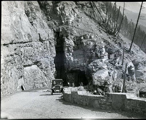 Car on Logan Pass in Glacier Park :: Archival Photographs from the University of Montana