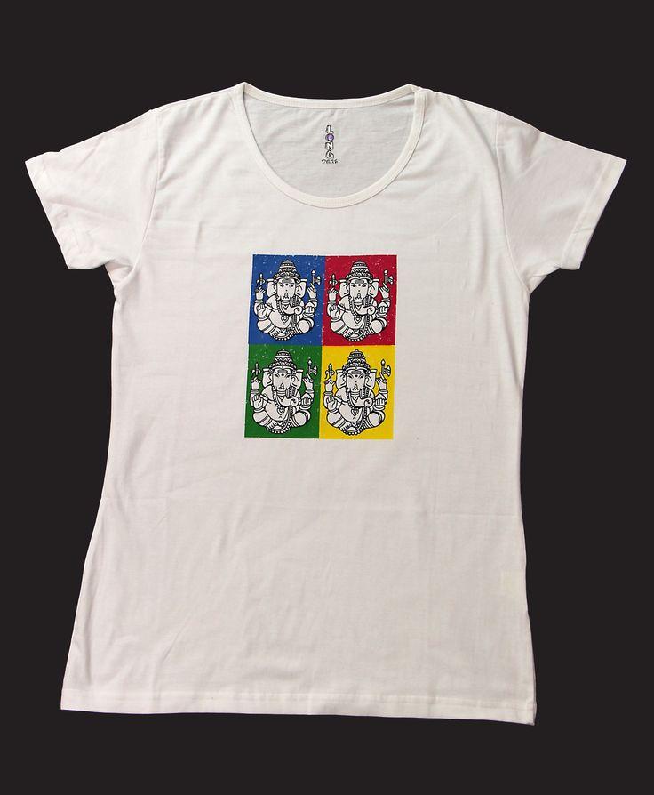 Ganesh Pop, Women | Tantra Tshirts USA - India on a Tshirt  Ganesha, also known as the 'Elephant God' seen in a pop art avatar.