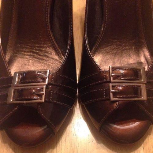 Antonio Melani Shoe Size 8 M Heels Peep Toe Bronze Brown Patent Leather Buckle  #AntonioMelani #OpenToe #WeartoWork #HeelsPeepToe PatentLeather #WomensFashion