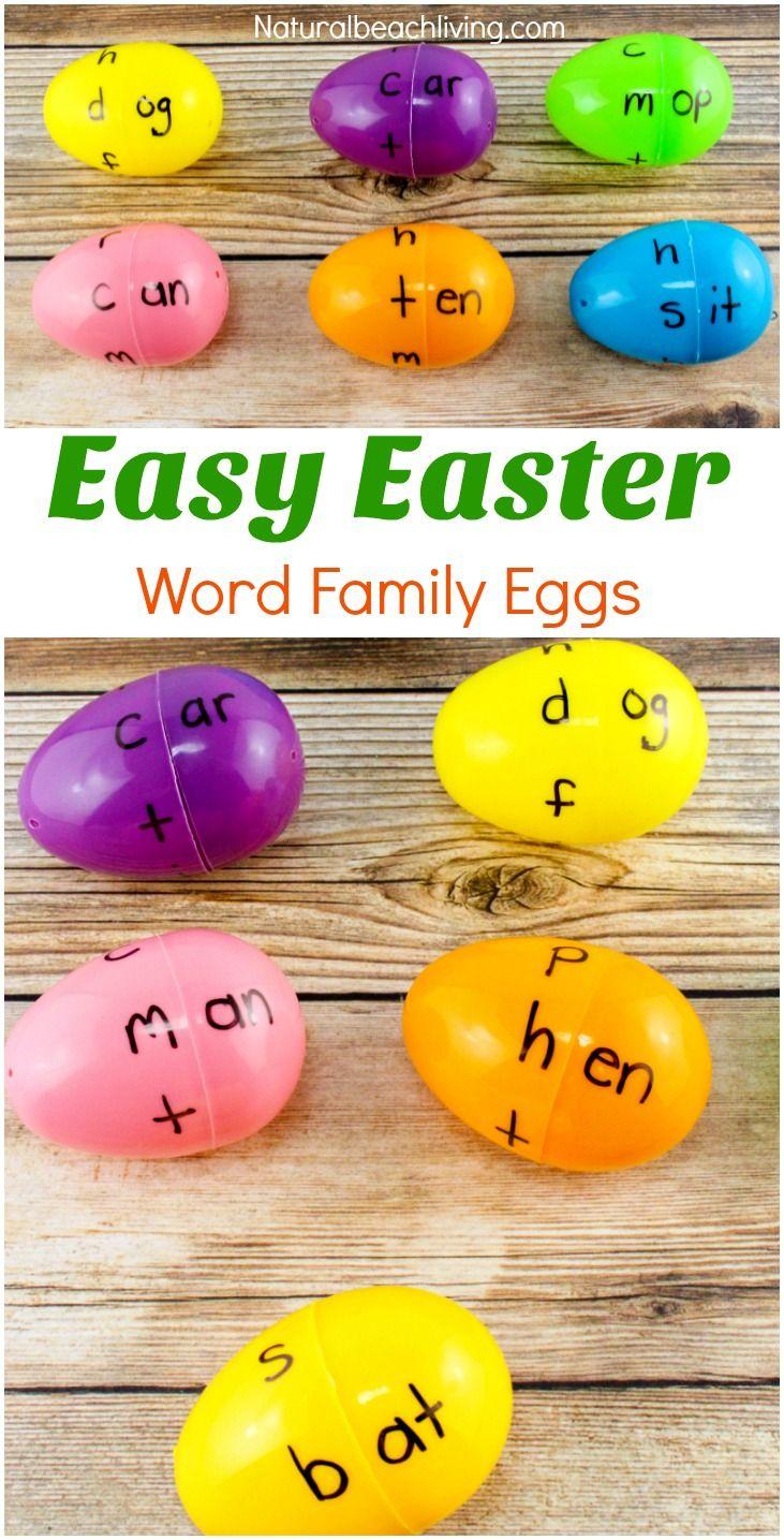 Easter Word Family Activities Kindergarten Children Will Love, Word Family Eggs, DIY word family activities, Great Spring Word family games for kids