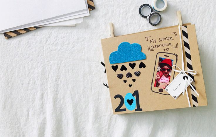 This gif shows a series of summer scrapbook ideas with illustrations popping out from the page and beach souvenirs collected in one place.