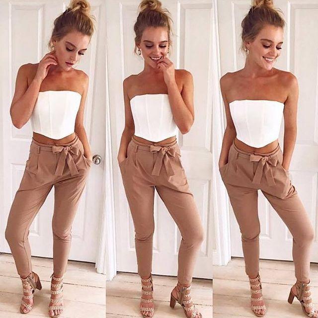 Neutrals tones always make outfits look fresh and chic ✨ Capulet Bandeau Top + Enigma Pants. Shop NEW ARRIVALS! #muraboutique