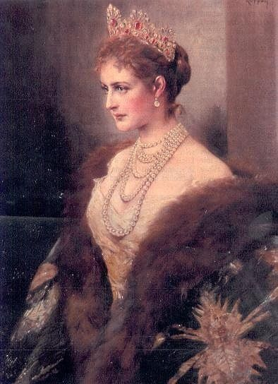 Alexandra Feodorovna was the Czarina of Russia and wife of Nicholas II. Born as a princess of the German Empire, she was unpopular in Russia, due to political tensions between the two nations. Yet Nicholas and Alix had fallen in love, and after the death of Czar Alexander III, became in engaged in 1894. Together, the ruling couple would have five children, four females and one male.