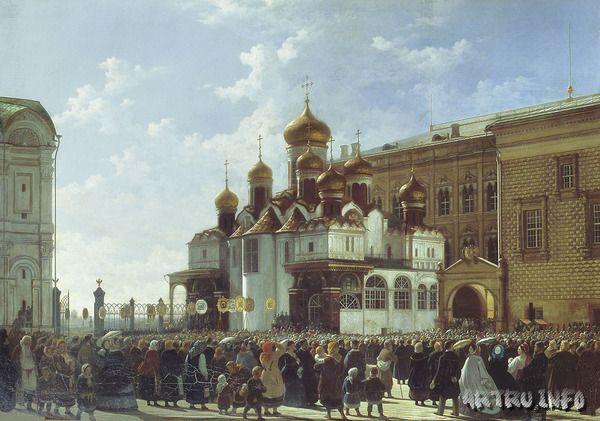 Крестный ход у Благовещенского собора в Московском Кремле.