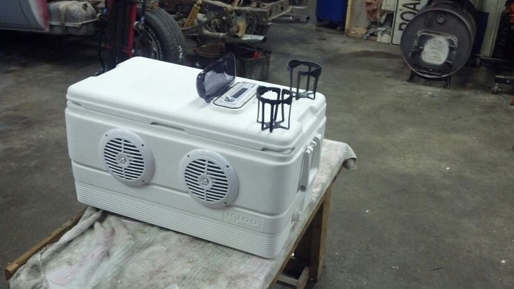 "Cooler radio. All marine stuff. 4- 6 1/2"" speakers head unit plays cd's sd card a usb plug and a aux plug. Has a huge marine battery with toggle switch to kill power and has 4 cup holders. Plays fer days without needin a charge. $400  Dallas Myrick built it."