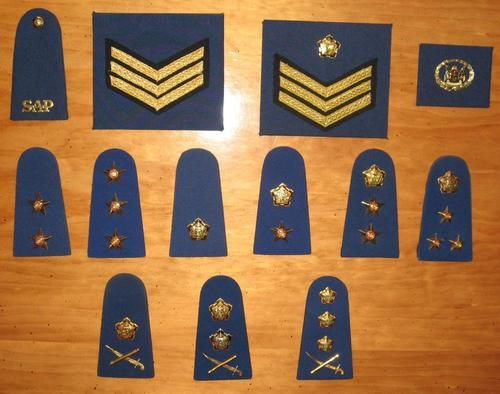Complete set of SOUTH AFRICAN POLICE FORCE rank insignia - pre 1996
