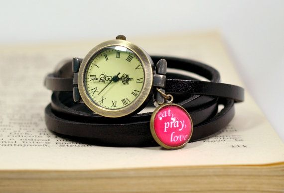 Black Leather Wrap Watch Eat Pray Love Leather by PauwowHandmade, $26.90