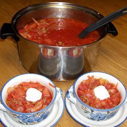 Ukrainian Red Borscht Soup - soooo good! made it with chunks though instead of shredded and ground beef instead of pork sausage...and no sugar.