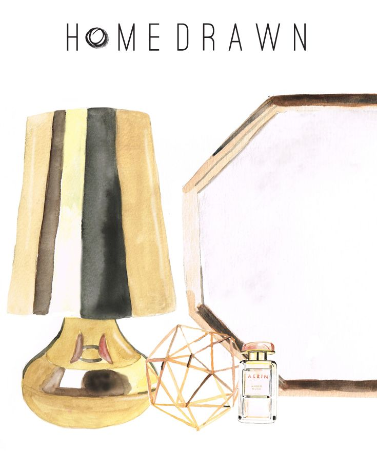 Brass vignette | Cindy Kartell by Ferruccio Laviani, Symmetry object dècor #lamp #tablelamp #lampshade #kartell #spacefurniture #shiny #contemporary #mirror #sculpture #perfume #illustration #westelm #globewest #homedrawn