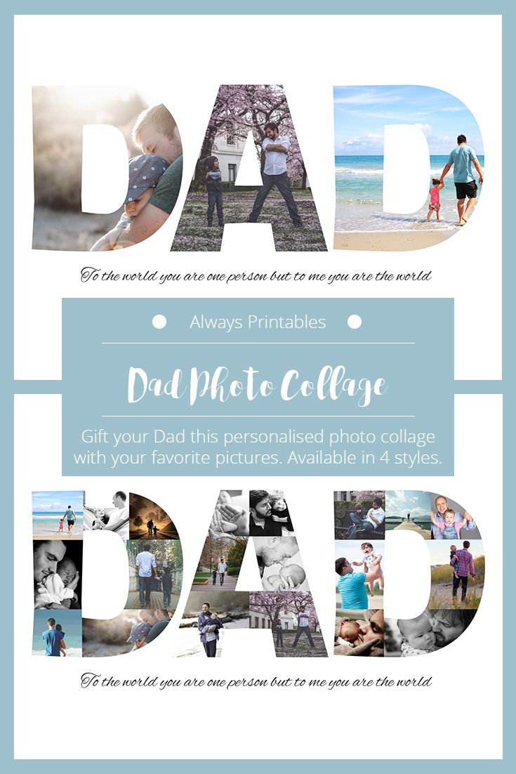 DAD Word Photo Collage - this makes a great gift for father's day or birthday present. Get your dad a personalised photo collage featuring your favourite memories together.