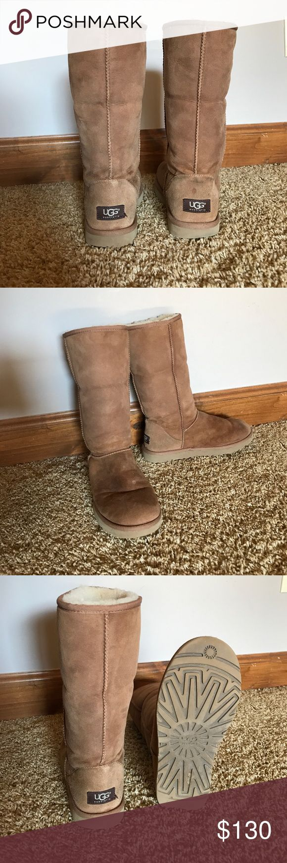 Authentic Chestnut Classic II Tall UGG Boots Chestnut (color) suede Ugg boots in Classic Tall style. Sheepskin insole. Slightly noticeable water damage on the top, but still in great condition. Very warm boots with good traction. UGG Shoes Winter & Rain Boots