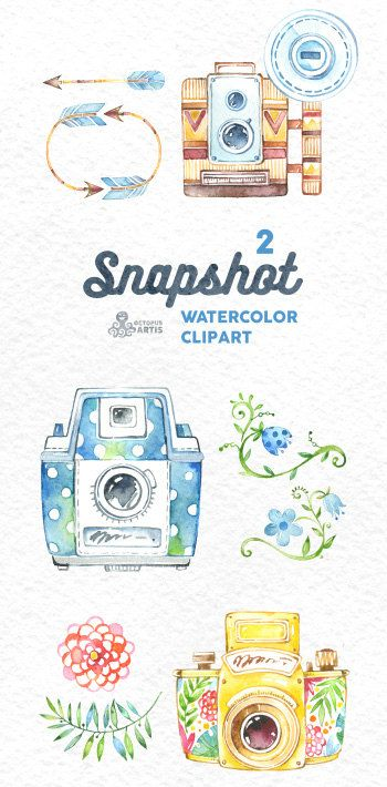 Snapshot2. Watercolor handpainted cameras clipart by OctopusArtis