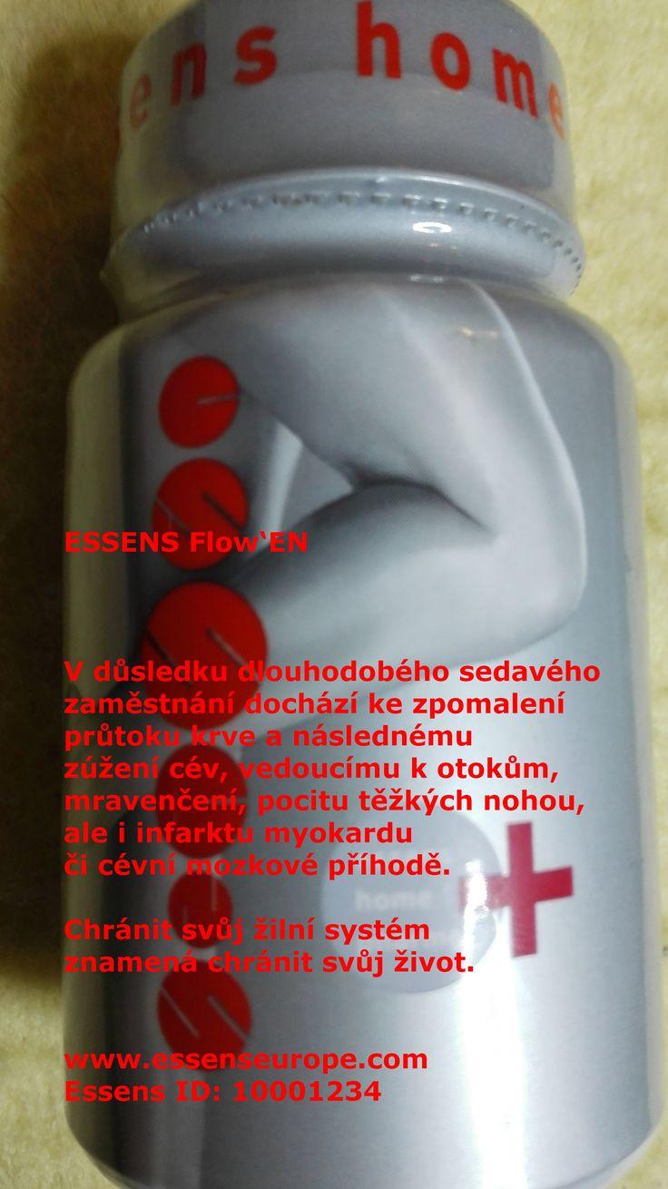 ESSENS Flow'EN - V důsledku dlouhodobého sedavého  zaměstnání dochází ke zpomalení  průtoku krve a následnému zúžení cév, vedoucímu k otokům,  mravenčení, pocitu těžkých nohou,  ale i infarktu myokardu  či cévní mozkové příhodě.   Chránit svůj žilní systém znamená chránit svůj život.   www.essenseurope.com Essens ID: 10001234 Více o Homepharmacy na www.essensclub.cz