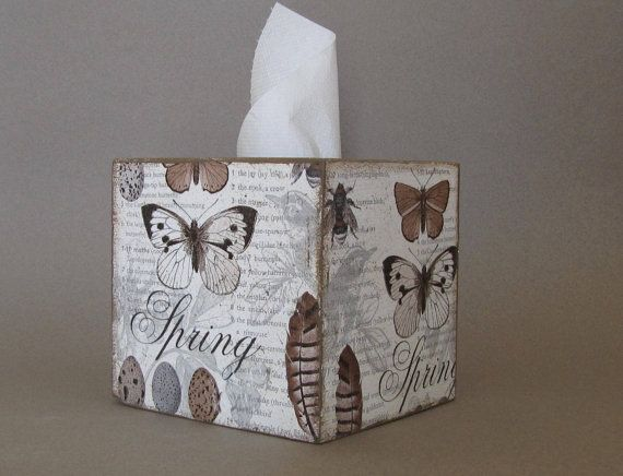 Wood tissues box , kleenex box , napkins holder , tissue dispenser for bedroom decor and spring decor  A box created with decoupage technique and