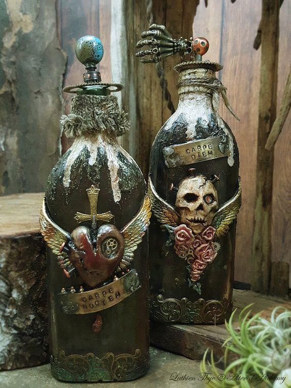 Gothic Twin, Carpe Diem & Carpe Noctem - Mixed Media Altered Bottle Art