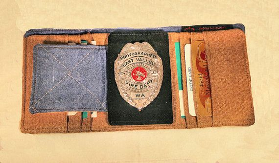 Firefighter Turnout Bunker Gear Badge Wallet by SmilingPupDesigns