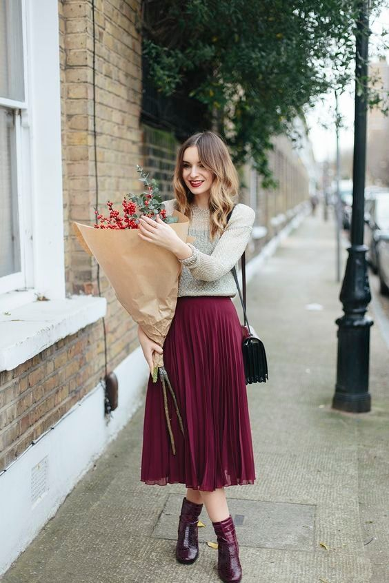 Channel romantic Parisian vibes in a midi skirt and long sleeved jumper this winter. Pair with colour co-ordinating boots and you're ready for date night.