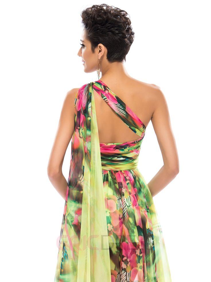 Floral Printed Split-front One Shoulder Prom Dress 4