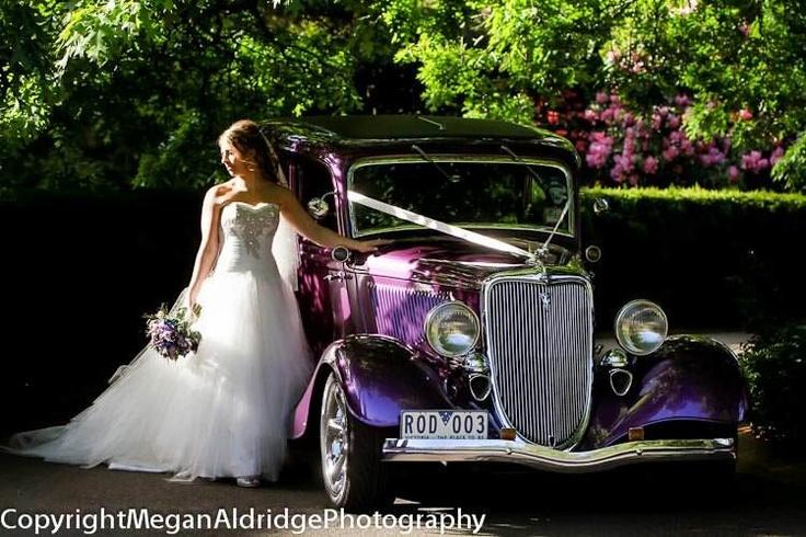 Purple hot rod vintage wedding car! Photo by www