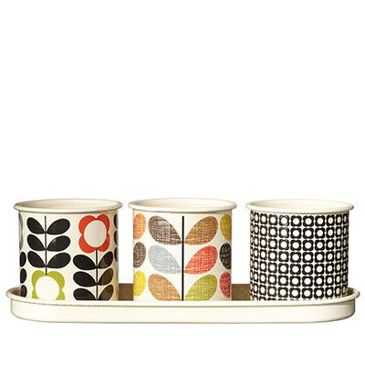Orla Kiely | UK | House | Garden | Set of 3 Enamel Herb Pots (0GARPOT014) | Multi