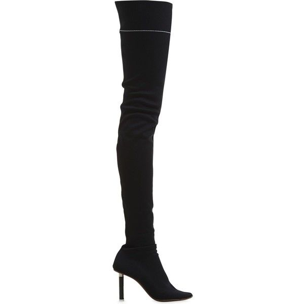 Vetements Women 90mm Lighter Over The Knee Sock Boots (24.895.005 IDR) ❤ liked on Polyvore featuring shoes, boots, black, black high heel boots, over the knee sock boots, pull on boots, knit boots and over-knee boots