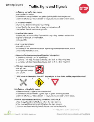 Worksheets Drivers Ed Worksheets 7 best images about drivers ed on pinterest new high school worksheets rules of the road practice test 2