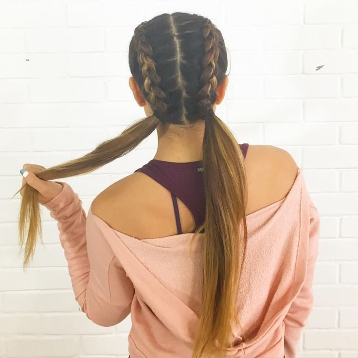 Workout hair. Inside out braids to pigtails. Try it!