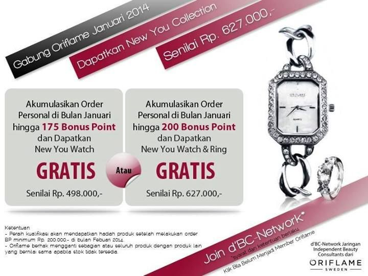 Yuhuuu.... cantik yaa jam tangan dan cincin iniii ;) bisa di dapetin gratis oleh semua member Oriflame