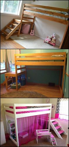 If you are searching for that perfect bed design for the kids, here's a simple yet appealing DIY loft bed that might just be what you are looking for!  Loft beds are one of the best solutions to maximise space in a small bedroom. But they come in many different versions, all having features that will suit the needs of the owner and fit the room better.  Learn more about the features of a loft bed with stairs on our site! You can also get more clever ideas which your kids will love!