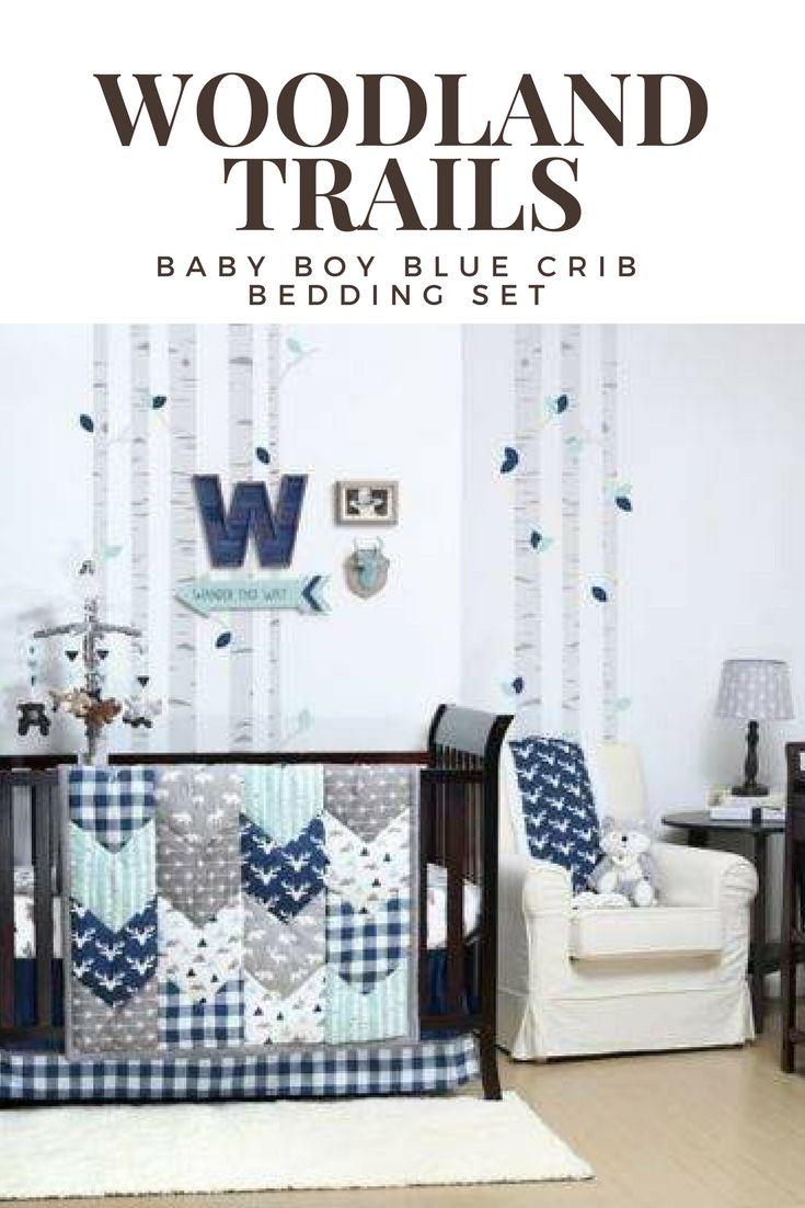 Woodland Trails Crib Bedding Set Baby Boy Blue Nursery