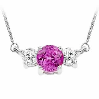 Amethyst and Diamond Trilogy Pendant in 9k White Gold