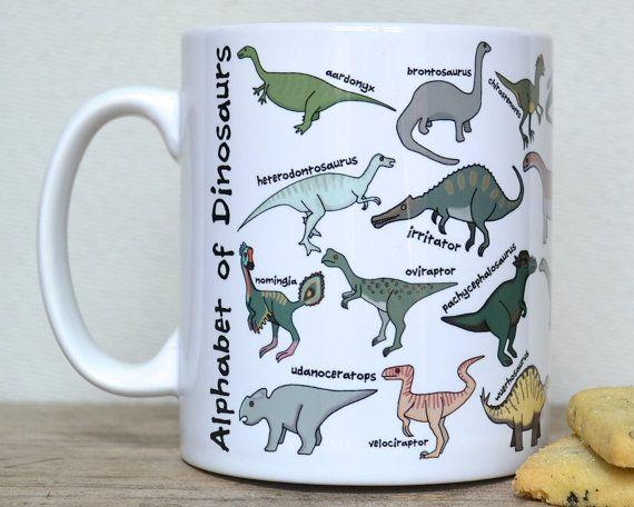 Dinosaur Alphabet Mug  Secret Santa Gift  by BeckaGriffin on Etsy
